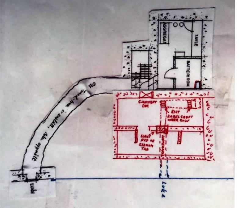 Ruseløkkabunkeren med inntegnet ny del fra 1960tallet